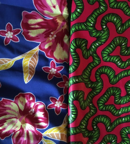 Hibiscus Print & Green Roots lining options for the Amamama Reversible African Print Dungarees