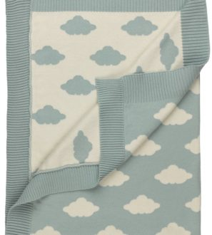 Big Clouds Knitted Blanket 100% Organic Cotton and GOTS Certified by Huggee Purewear at Nurture Collective Ethical Baby Clothing
