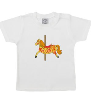 Baby Carousel Horse organic cotton short sleeved t-shirt by Tommy & Lottie at Nurture Collective Ethical Baby Clothing