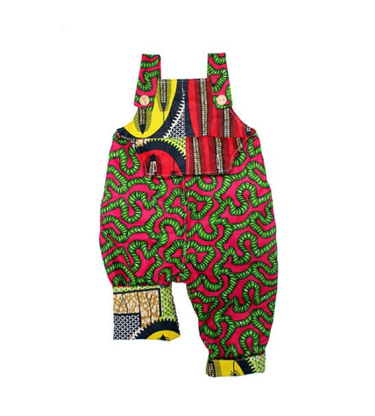 Green Roots Reverse African Print Dungarees by Amamama at Nurture Collective