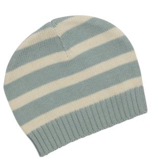 Stripes Ether Blue Knitted Beanie by Huggee Purewear