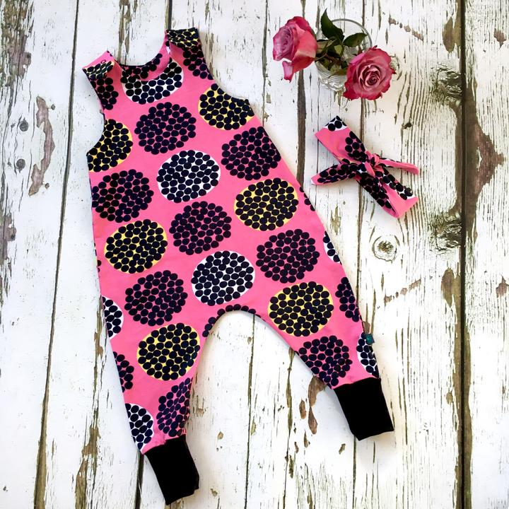 Hot Pink Rubus Organic Romper by Maebelle & Bo at Nurture Collective Ethical Baby Clothing