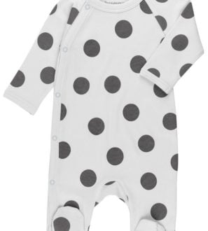 Maxi Polka Dots Raglan Babygrow by Huggee Purewear at Nurture Collective Ethical Baby Clothing
