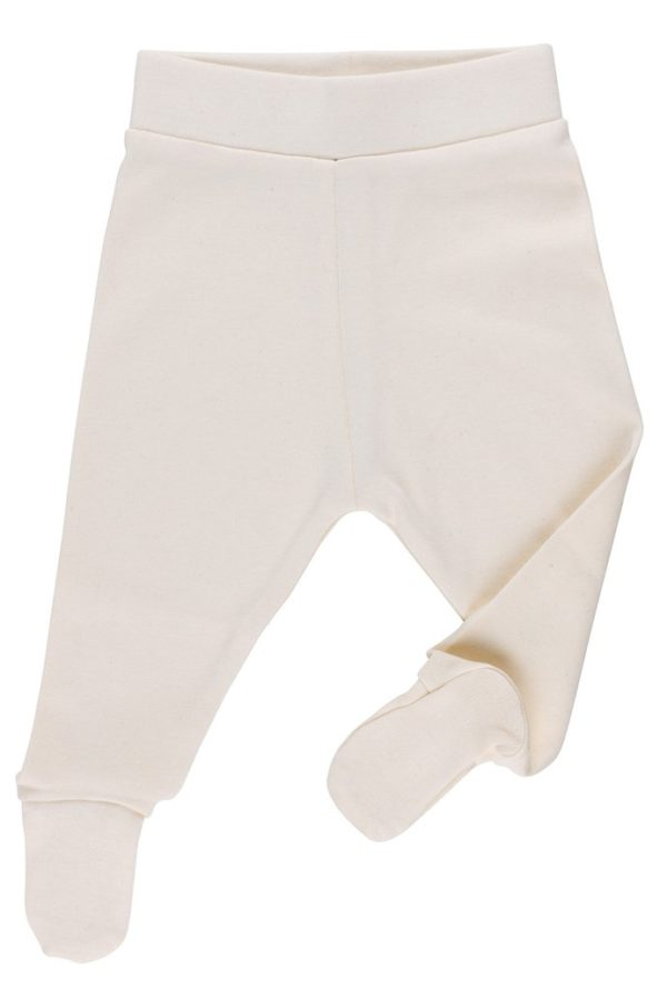 Natural Striped Footed trousers by Huggee Pure Wear at Nurture Collective Ethical Baby Clothing