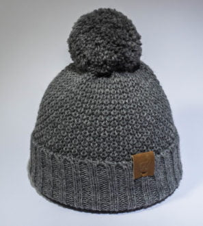 Alpaca Natural wool children's hats in Grey with pom poms by Ted & Bessie at Nurture Collective Ethical Baby Clothing