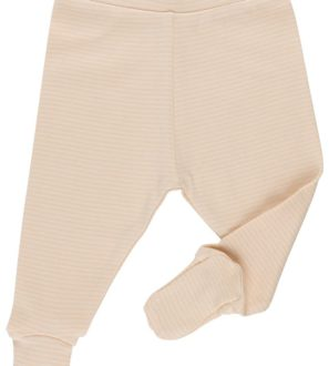 Striped nude footed trousers by Huggee Purewear