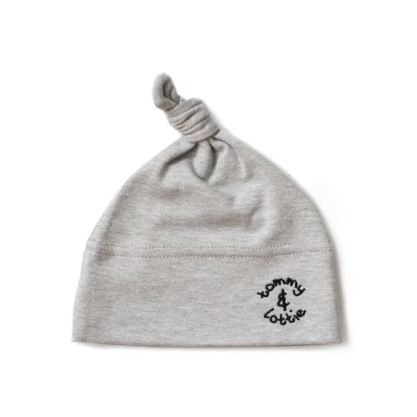 Top Knot Baby Hat with black embroidery Tommy & Lotties at Nurture Collective Ethical Baby Clothing