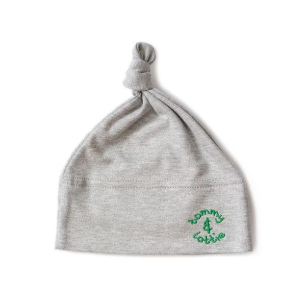 Top Knot Baby Hat with green embroidery by Tommy & Lottie at Nurture Collective Ethical Baby Clothing