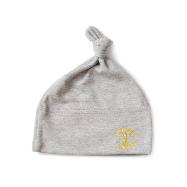 Top Knot Baby Hat with yellow embroidery by Tommy & Lottie at Nurture Collective Ethical Baby Clothing
