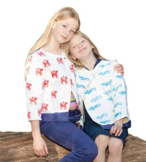 Two girls wearing the Swing Jackets by Where does it come at Nurtur Collective.