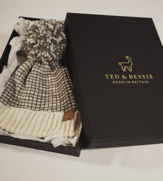 Alpaca natural wool hat in a box by Ted & Bessie
