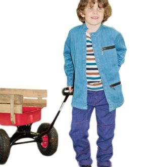 A boy pulling a cart wearing the denim Zippy Jacket by Where Does it Come From at Nurture Collective