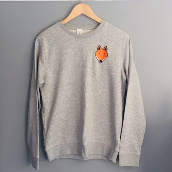 Adult Fox Sweatshirt in grey by Tommy & Lottie at Nurture Collective Ethical Baby Clothing