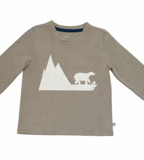Bobo Bear Organic Long Sleeved T-Shirt in grey Bobo Bear print by Cooee