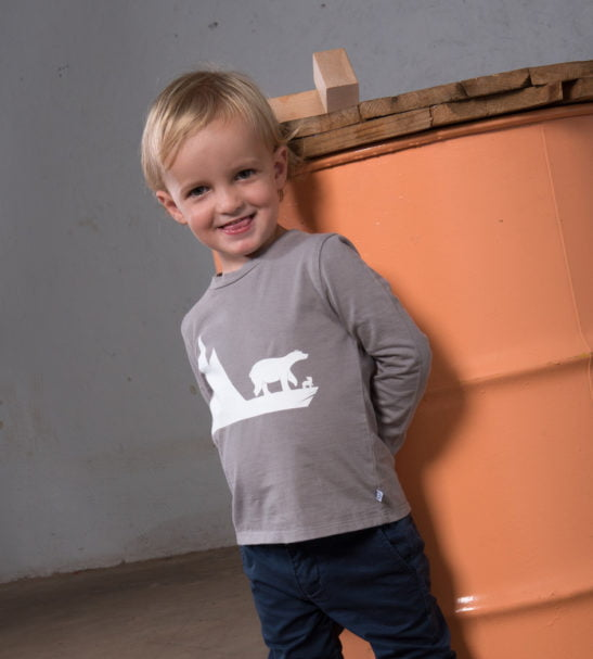 Child wearing Bobo Bear Organic Long Sleeved T-Shirt by Cooee