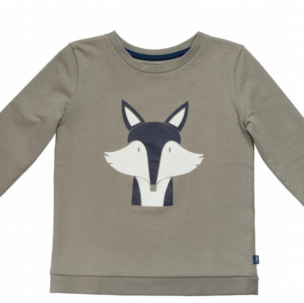 The Organic grey Fantastic Mr Fox Sweatshirt with blue and white print by Cooee