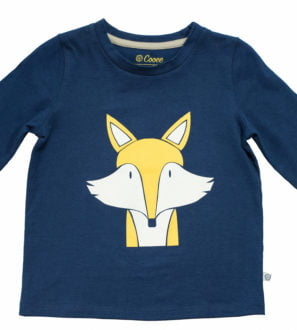 Felix Fox Organic Long Sleeved unisex yellow and white print T-Shirt by Cooee