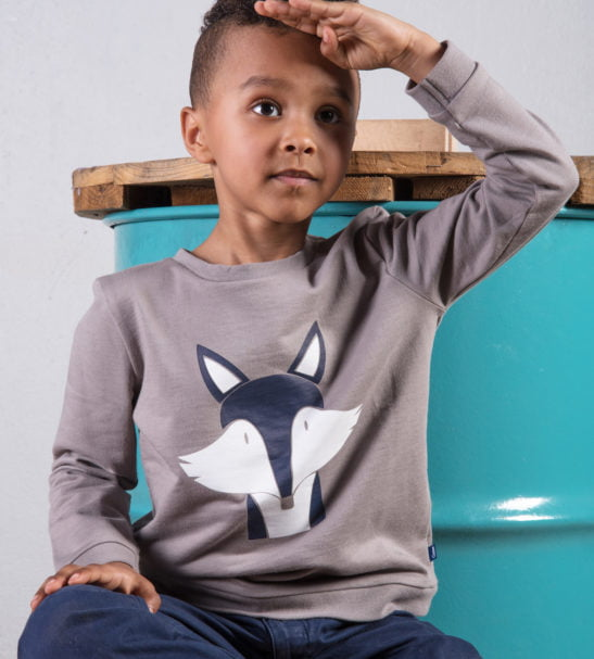 Boy sitting down with hand on his head wearing a grey unisex Fantastic Mr Fox Sweatshirt with blue and white print by Cooee