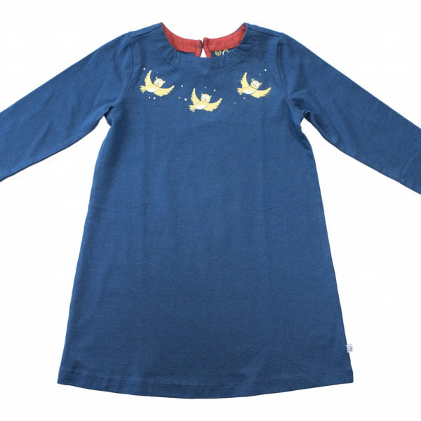 Blue Olive Organic Owl dress with long sleeves and yellow embroidery by Cooee