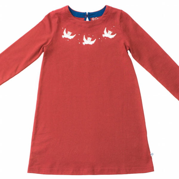 Oona Owl Organic Dress in maroon with white embroidery by Cooee
