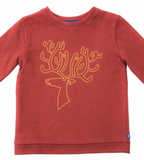 Robin Reindeer unisex organic sweatshirt with yellow embroidery by Cooee