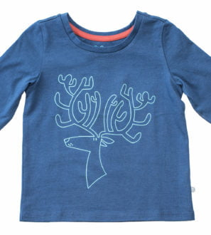 Ruberta Reindeer long sleeved organic blue t-shirt with blue embroidery by Cooee