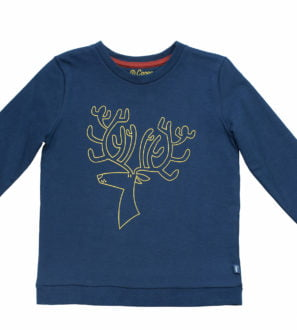 Navy Blue Organic Rue Reindeer Sweatshirt with yellow embroidery by Cooee