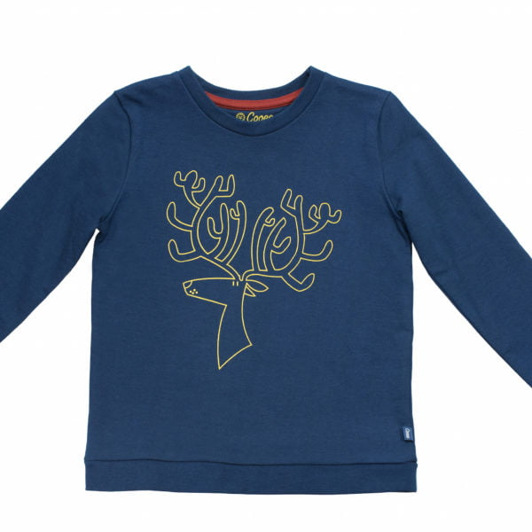 Rue Reindeer Navy Blue Sweater by Cooee Kids at Nurture Collective