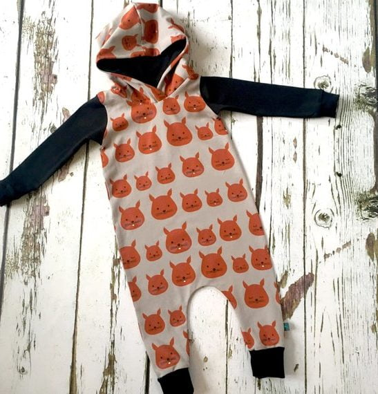 Squirrel Long sleeved Romper with a hood