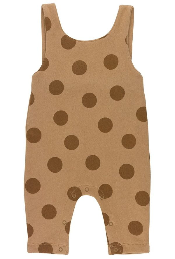 Brown Maxi Polka Dots Dungarees by Huggee Purewear at Nurture Collective Ethical Baby Clothing