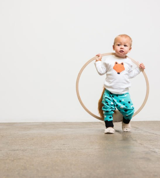 Baby Harems Pants in Aqua blue with dot print by Squidge & Smudge at Nurture Collective Ethical Baby Clothing