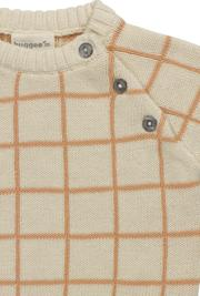 Close Up of Organic Baby Sweater Grid Print by Huggee Purewear