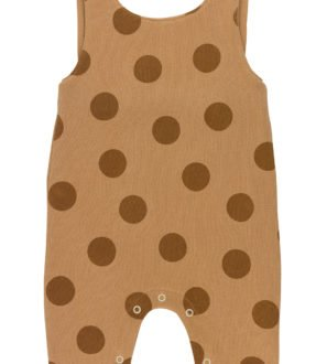 Brown Maxi Polka Dots Dungarees Organic GOTS Certifed by Huggee