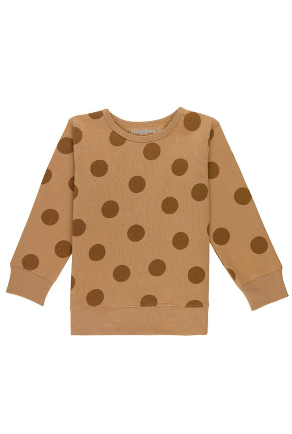 Brown Maxi Polka Dots Sweatshirt by Huggee Purewear at Nurture Collective Ethical Baby Clothing