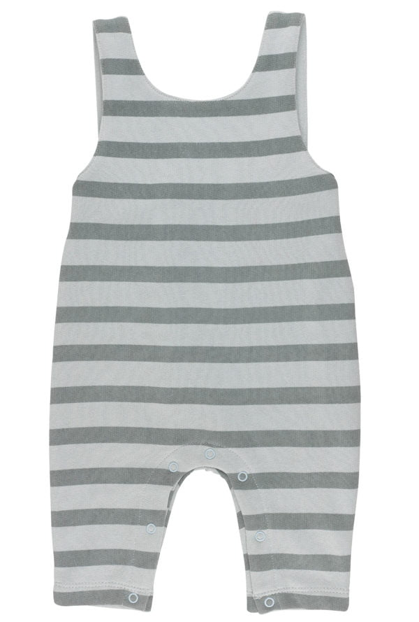 Silver Blue Stripes Dungarees Organic for Baby by Huggee Purewear