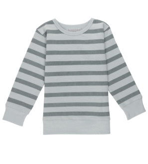 Silver Stripes Blue Sweatshirt, Organic Fleece by Huggee Purewear
