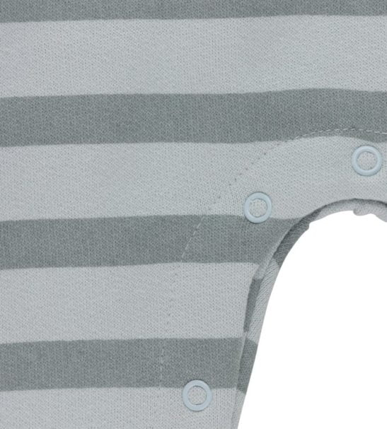 Close up of poppers on Silver Blue Stripes Dungarees Organic for Baby by Huggee Purewear