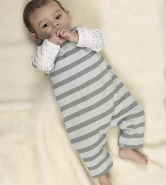 Baby wearing Silver Blue Stripes Dungarees Organic by Huggee Purewear