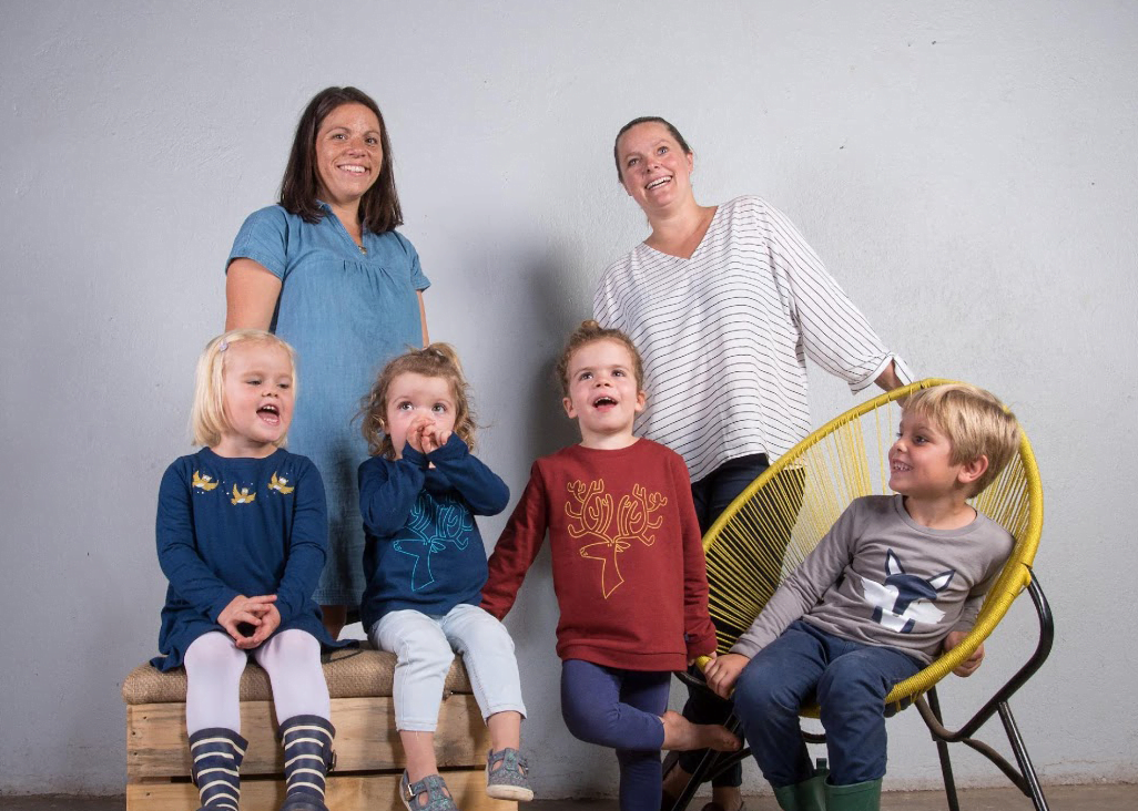 Behind the scenes family picture of Founders of Cooee, Naomi Well & Anna Hesemann on their Autumn/Winter photo shoot