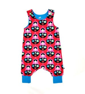 Organic Matrioshka Harem Romper by Squidge & Smudge at Nurture Collective Ethical Baby Clothing