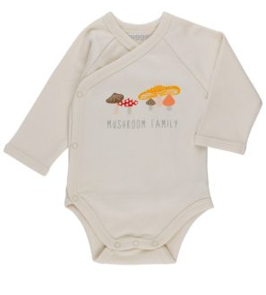 Mushroom Organic Babygrow LS by Huggee Purewear at Nurture Collective Ethical Baby Clothing