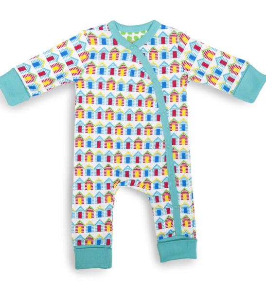 Beach Huts long sleeved babygrow by Little Leaf Organic