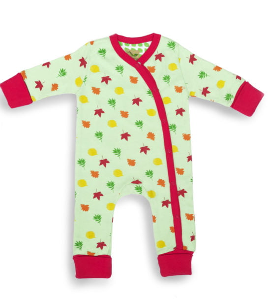 Leaves long sleeved baby grow by Little Leaf Organic