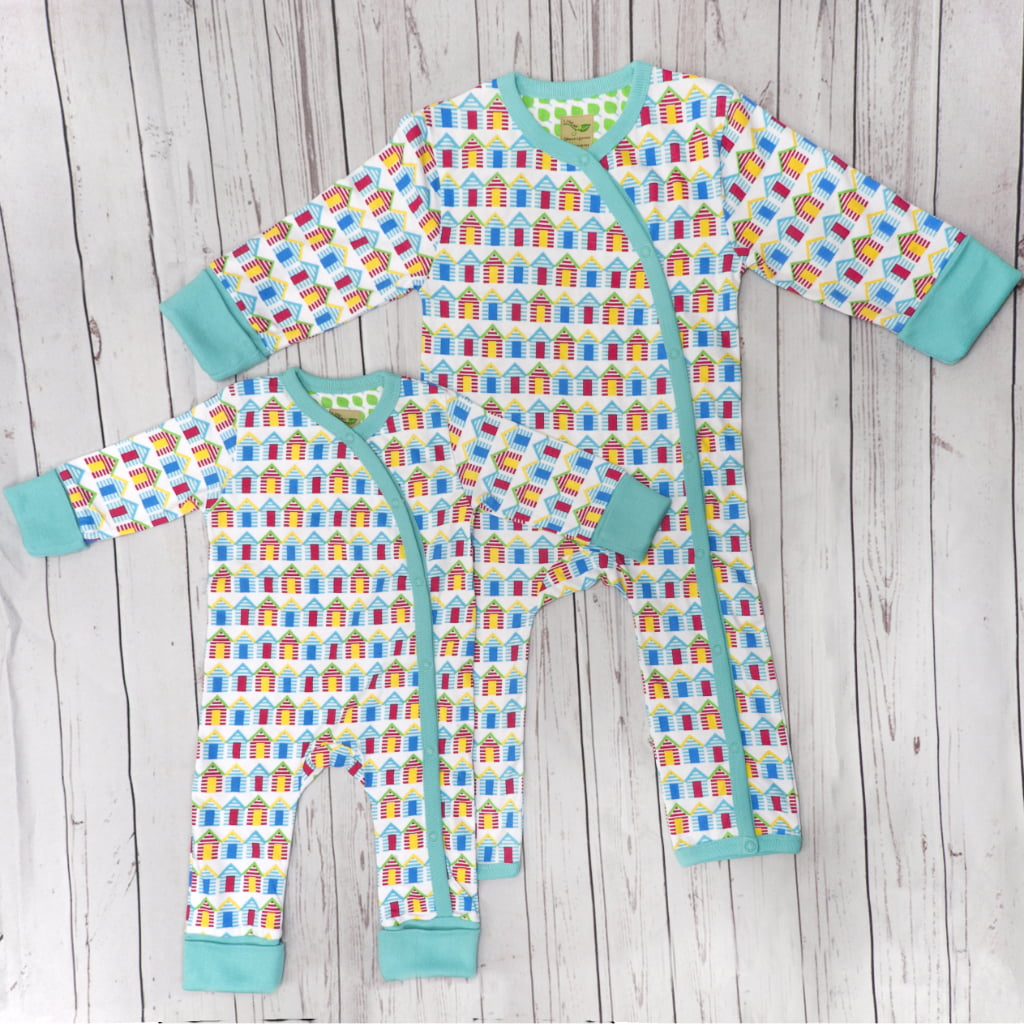 fa676d7f0 Beach Huts Baby Grow - Nurture Collective - Ethical Baby Clothing