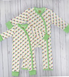 Kites long sleeved babygrow by Little Leaf Organics