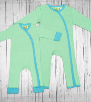 Organic spring bud baby grow by Little Leaf Organic