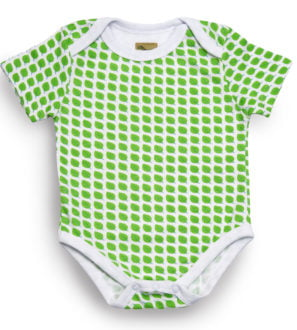Organic baby bodysuit short sleeved little leaf print at Nurture Collective