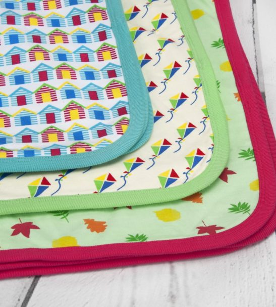 Organic baby blanket: Leaves, Kites, Beach Hut in gift set box available at Nurture Collective Ethical Baby Clothing