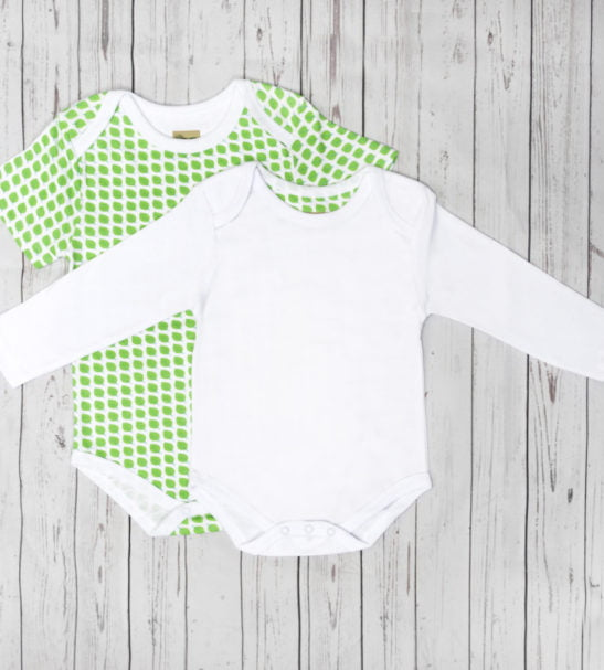 White short sleeved bodysuit & Leaf Bodysuit with Long Sleeves by Little Leaf Organic