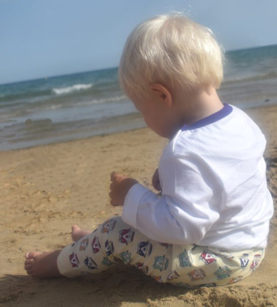 Baby Wearing Camper Van Leggings for baby-toddlers long sleeved by Little Leaf at Nurture Collective Ethical Baby